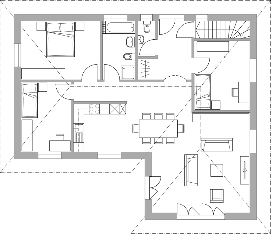 Haus 461 altersgerechter bungalow bautec ag for Einfamilienhaus l form